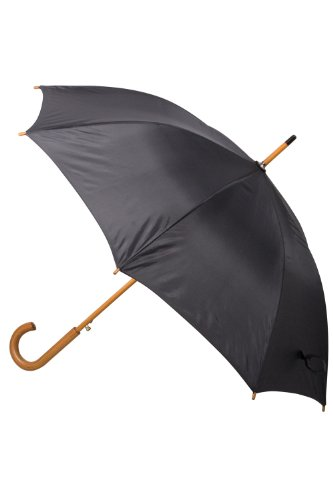 Mountain Warehouse Classic Umbrella - Plain - Lightweight, Durable, Curved Wooden Handle, Easy to Carry & Easy Care - Open: 103cm, Closed: 89cm X 11cm Black