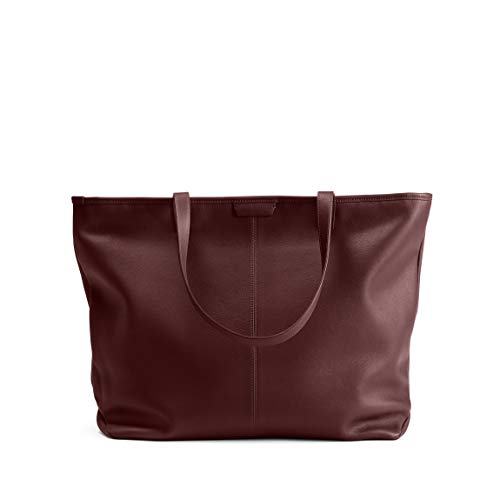 Large Zippered Downtown Tote - Full Grain Leather Leather - Bordeaux ()