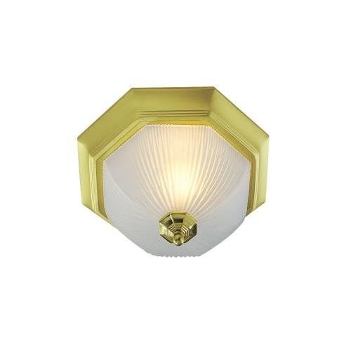 MONUMENT GIDDS-617034 617034 Ceiling Fixture, Frosted Ribbed Glass, Polished Brass, 12', Uses (2) 60W Incandescent Medium Base Lamps