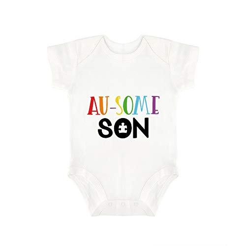 (Promini Cute Baby Onesie Au Some Son Baby Bodysuit Infant One Piece Baby Romper Best Gift for Baby White)