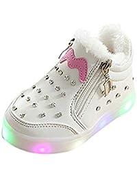 Kehen Kids Toddler Girls Zip Crystal Led Light Up Luminous Sneakers Shoes Winter Warm Short Boots