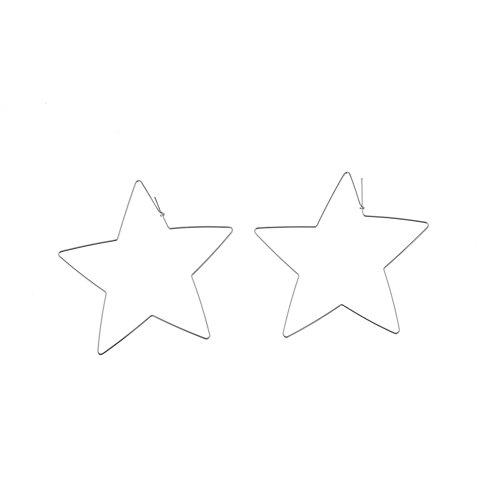 soAR9opeoF Opeof Earrings Fashion Simple Large Star Heart Shaped Hoop Earrings Jewelry for Women Girl Silver Star ()