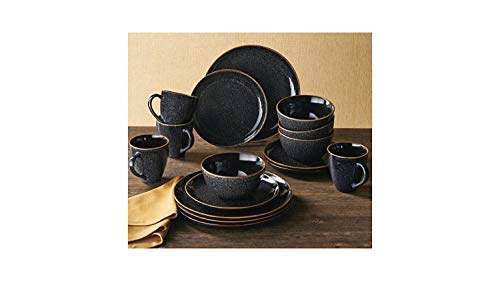 Better Homes and Gardens Stoneware 16 pc Round Black Speckled Burns Dinnerware ()
