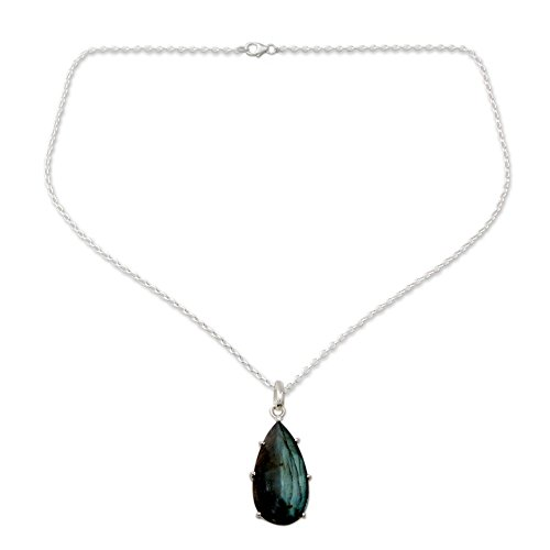 NOVICA Multi-Gem Labradorite 925 Sterling Silver Pendant Necklace, 19