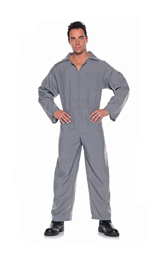 [Men's Pilot Jumpsuit Grey (Standard)] (South Pacific Costumes)