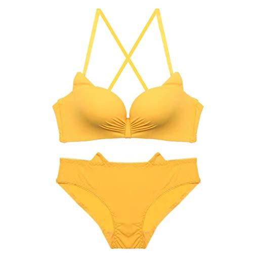 Sexy Gathered Beauty Back Bra A/B Pass Cup Fashion cat Ears Underwear no Trace Thin Underwear Panties Suit MEEYA Yellow