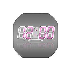 Asteria-Ashley 3D Wall Clock Modern Digital Wall Table Clock Alarm Clock Nightlight Saat Wall Clock for Home Living Room,Pink A