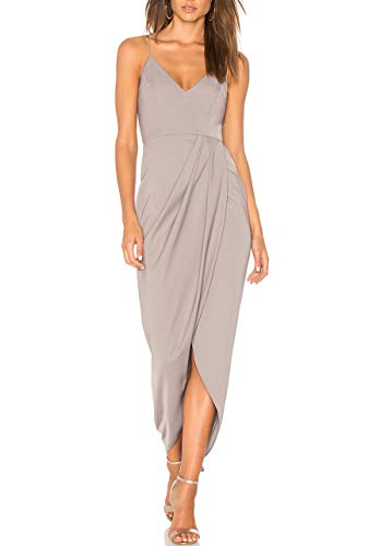cmz2005 Women's Sexy V Neck Backless Maxi Dress Sleeveless Spaghetti Straps Cocktail Party Dresses 71729 (S, Light Gray)