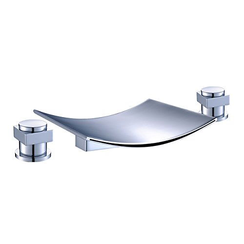 (FLG Deck Mount Two Handle Widespread Waterfall Bathroom Bath Tub Faucet Chrome 7.5 inch Spout)