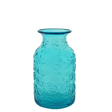 Grehom Recycled Glass Vase - Flowers (Blue); 16 cm Vase by Grehom