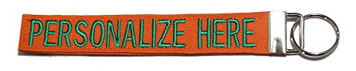 """Northern Safari Personalized Military Name Tapes Logo Key Chain/Luggage and/or Crate Tags, Orange, 6"""" Logo Keychain"""