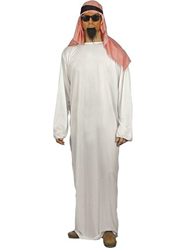 Smiffy's Men's Fake Sheikh Arab Costume with Long Tunic and Headdress, White - Large]()