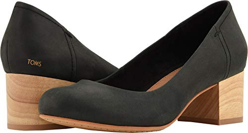 TOMS Womens Beverly Pump Shoes Black Leather 6 -