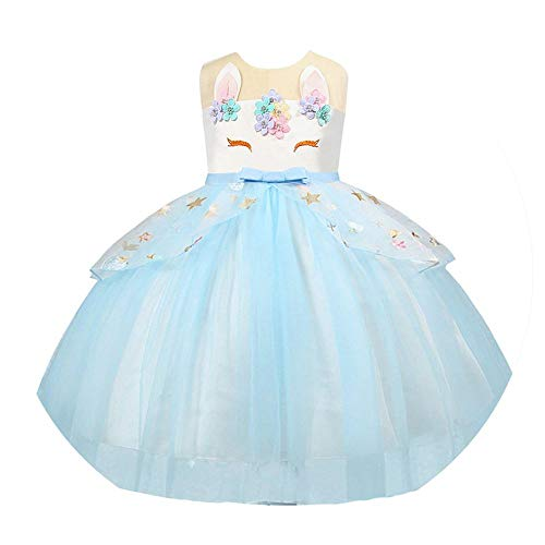 2076 Girls Dress Unicorn Party Kids Dresses for Girls Clothes Teenage Girl Children Birthday Unicorn Costume]()