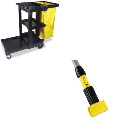KITRCP617388BKRCPH226 - Value Kit - Rubbermaid-Gripper Wet Mop Handle (RCPH226) and Rubbermaid Cleaning Cart with Zippered Yellow Vinyl Bag, Black (RCP617388BK) by Rubbermaid