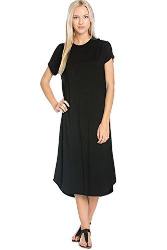 Nero Maniche Corte Longuette Vestito Azules Altalena Donna Sq0O61wvx