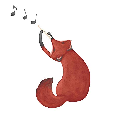 My Wonderful Walls Repositionable Wall Sticker Musical Fox Wall Decal Art by Laura Gonzalez, 15-Inch by 22.8-Inch, Red/Orange/Brown
