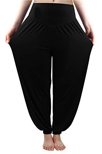 fitglam Women's Soft Modal Yoga Harem Pilates Pants Long Baggy Sports Workout Dancing Trousers Black X-Large