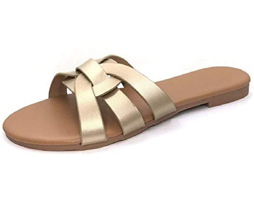 Flat Slide Sandal with Single Over The Toe Braided Criss Cross Strap, Gold, 9