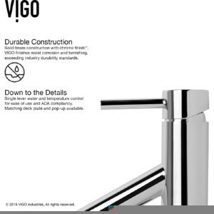 VIGO VG01008CH Alicia Bathroom Faucet, Single-Hole Deck-Mount Lavatory Faucet with Plated Seven Layer Polished Chrome Finish by VIGO (Image #2)