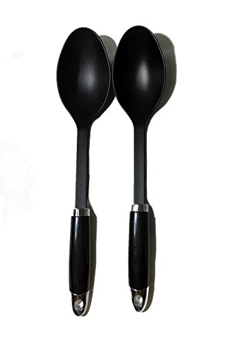 Nylon Cooking Spoon Kitchen Tool, Black, Set of 2 Nylon Cooking Spoon