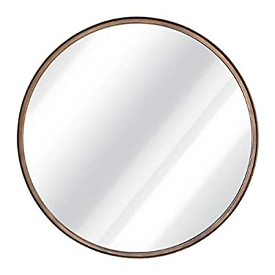 "27.5"" Large Round Mirror - Beautiful Brushed Bronze Wall Mirror - Handcrafted Oil Rubbed Circle Mirror - Metal Framed Decorative Mirrors For Wall - Hanging Mirror - Large Circular Wall Mirror - BEAUTIFULLY HANDCRAFTED - Our Rustic Wall Mirrors are handcrafted with care and attention to detail and design. We use High Quality Metals and Mirror Materials to guarantee the sturdiness and consistent aesthetic beauty of the design. Our mirrors are silver-backed, presenting a beautiful reflection every time. The unique brushed golden bronze color finish really stands out making any wall look incredible! UNIQUE DESIGN - This 27.5 inch Round Wall Mirror is the ideal size for your living room, bathroom, entryway or anywhere else. The beautiful frame accents and room perfectly and matches any decor. We use a complicated 6 step process to produce this unique brushed gold color. This decorative mirror is perfect for rustic, modern, or classic home decor. ENHANCE YOUR HOME - We use the highest quality mirror materials on the market. We use thicker glass, real silver backing (not cheap substitutes) to ensure you are getting a great mirror for your home. We chose metal as the frame material for its timeless and adaptable look. The frame was handmade with care and attention, adding a genuine and warm feel to beautify your home. - mirrors-bedroom-decor, bedroom-decor, bedroom - 31XsvW0qO1L. SS400  -"