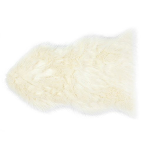 Sheepskin Wool Rug by DAYU Handmade Premium Imitation Shag Rug Thick Soft Fluffy Ivory White/Grey 2x3 ft/ 2.5x4ft Shaggy Area Rugs