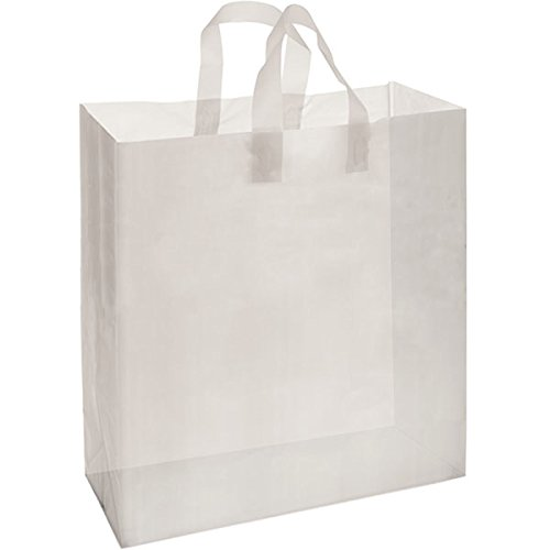 Frosted Heavy Duty Plastic Shopping Clothing Bags with Handle 16x6x19 Merchandise Shop White Lot of 200 NEW by Bentley's Display