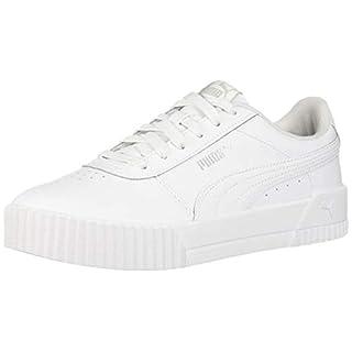 PUMA womens Carina Sneaker, Puma White-puma White-puma Silver, 8 US