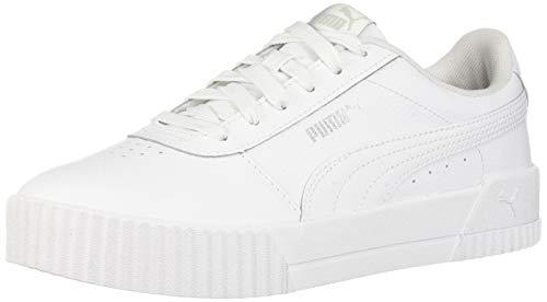 PUMA Women's Carina Sneaker White Silver, 10 M US