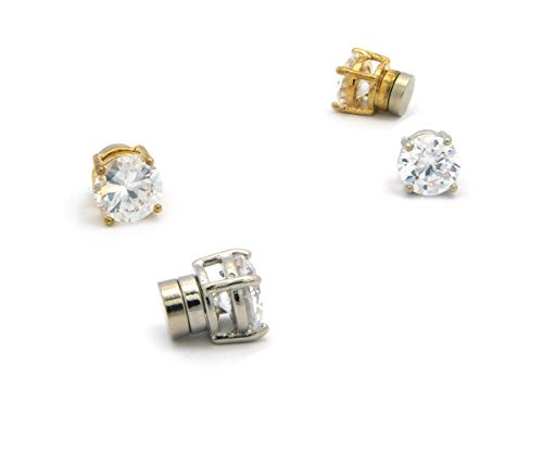 Gold, Silver Tone 4mm Clear Round Shape Cubic Zirconia Magnetic Stud Earring Set (2 (Hip Hop Magnetic Earrings)