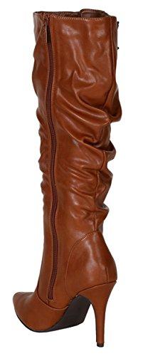 Breckelles Brandi-12 Slouchy Genou Haute Pointu Orteil Bottes Stiletto Tan