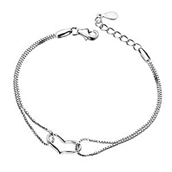 TuTu New Fashion 925 Sterling Heart Love Bracelet Bangle Silver Chain Charms Lady Women Jewelry Gift(Silver white) from TuTu