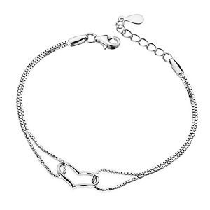 TuTu New Fashion 925 Sterling Heart Love Bracelet Bangle Silver Chain Charms Lady Women Jewelry Gift(Silver white)