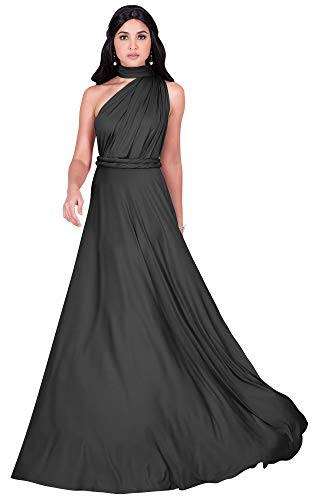 KOH KOH Plus Size Womens Long Bridesmaid Multi-Way Wedding Convertible Wrap Infinity Cocktail Sexy Summer Party Formal Prom Transformer Gown Gowns Maxi Dress Dresses, Dark Gray Grey XL 14-16