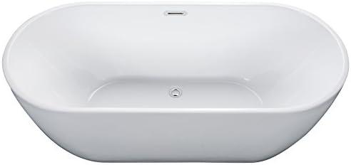 ALFI brand AB8839 Oval Acrylic Free Standing Soaking Bathtub