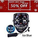 Halloween Mask LED Light up Purge Mask Frightening Wire Cosplay for Festival Parties Costume Received Before Halloween(Ice Blue) by Jaklove