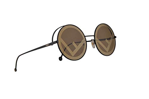 (Fendi FF0343/S Sunglasses Black w/Brown Gold Lens 53mm 807EB 0343S FF0343S FF)