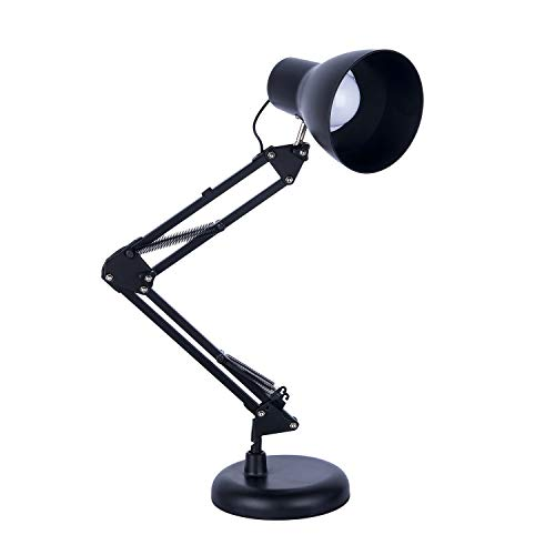 Metal Desk Lamp, Adjustable Arm Table Lamp,Interchangeable Base Or Clamp Classic Architect, Night Reading Light for Home, Office, Black