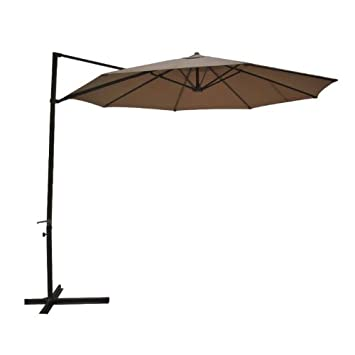 Southern Sales Round Offset Patio Umbrella 10u0027 Polyester Taupe