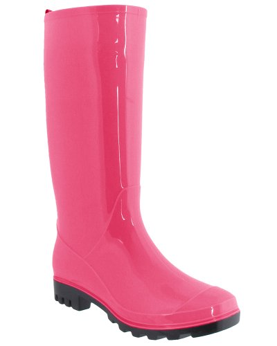 Capelli New York Shiny Solid Ladies Jelly Rain Boot Pink 6 ()
