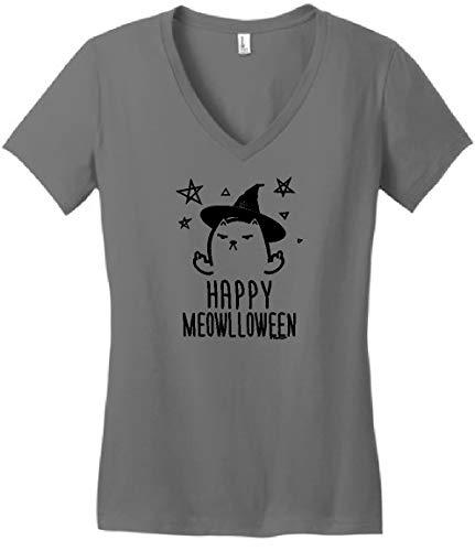 Halloween Lover Funny Cat Halloween Top Funny Happy Meowlloween Witch Cat Juniors Vneck 3XL -