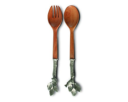 - Vagabond House Pewter and Wood Song Bird Salad Server Set, 13