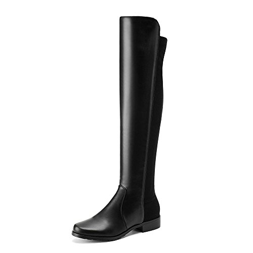 AnMengXinLing HZH-118-609-1 - Botas de Equitación de Piel sintética Mujer Black(leather)