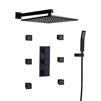 Image of JiaYouJia 12'' Wall Mounted Rain Shower System 3-Function Shower Combo Set with Six Body Spray Jets in Matte Black,Rough-in Valve Included