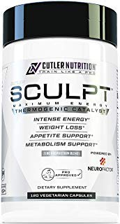 SCULPT Fat Burner Diet Pills: Best Weight Loss Energy Pills and Maximum Strength Thermogenic Metabolism Booster for Fast Weight Loss with Acetyl L Carnitine and Grains of Paradise, 120 Veggie Capsules by Cutler Nutrition