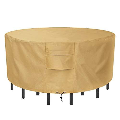 Sunkorto Round Patio Table & Chair Set Cover, Patio Furniture Set Cover Waterproof & Wear-resistant for Outdoor, 94 Inch Diameter, Light Brown (Chairs Round Table Cover And Patio)