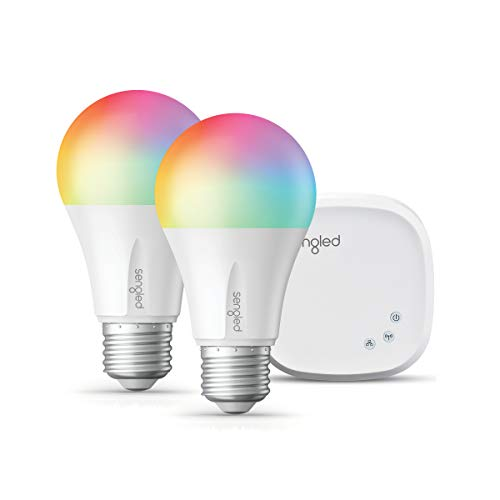 Sengled Smart LED Multicolor A19 Starter Kit, 60W Equivalent, 2 Smart Light Bulbs & Hub, RGBW Color and Tunable White 2000-6500K, Works with Alexa & Google Assistant