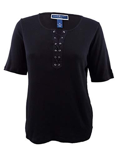 Karen Scott Womens Plus Cotton Lace-Up T-Shirt Black 1X (Scott Tops Karen)