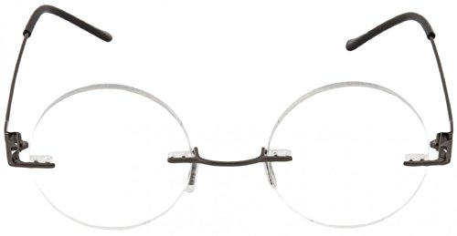 Steve's Totally Round Rimless Unisex Men and Women Circle Reading Glasses Readers +1.50 Gunmetal Black (Carrying Case Included)